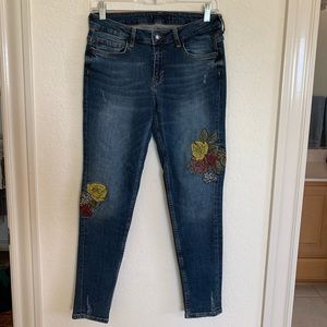 Zara Jeans with Floral Patches